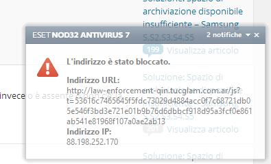 Antivirus Nod32 blocca pagina virus router
