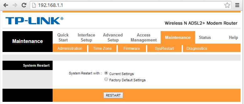 Tp-Link riavvio router