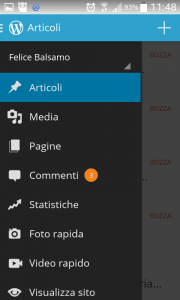 Funzioni presenti nell'app di gestione WordPress per android