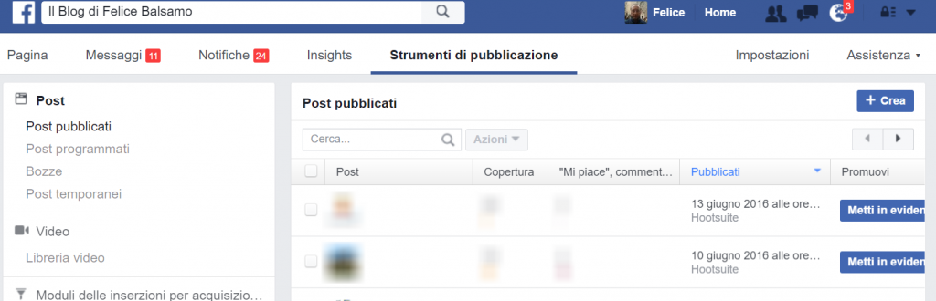 Funzione di pubblicazione di facebook