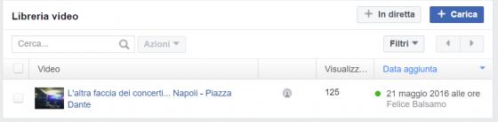 Gestione video facebook