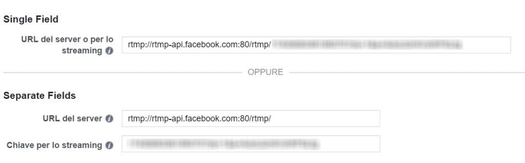 Configurazione dirette web Facebook