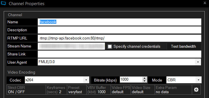 configurazione-xsplit per Facebook