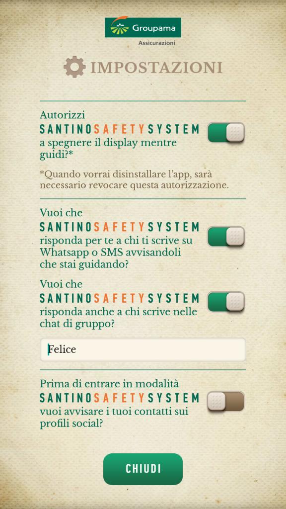 Configurazione dell'APP Santino Safety System